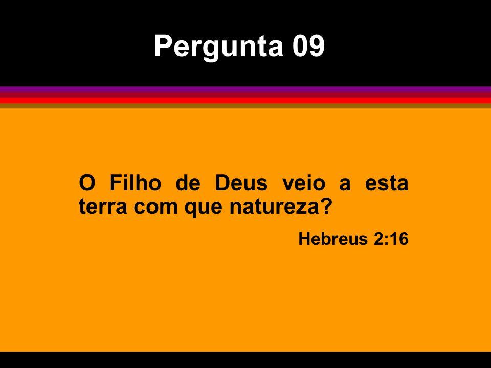 O Filho de Deus veio a esta terra com que natureza? Hebreus 2:16 Pergunta 09