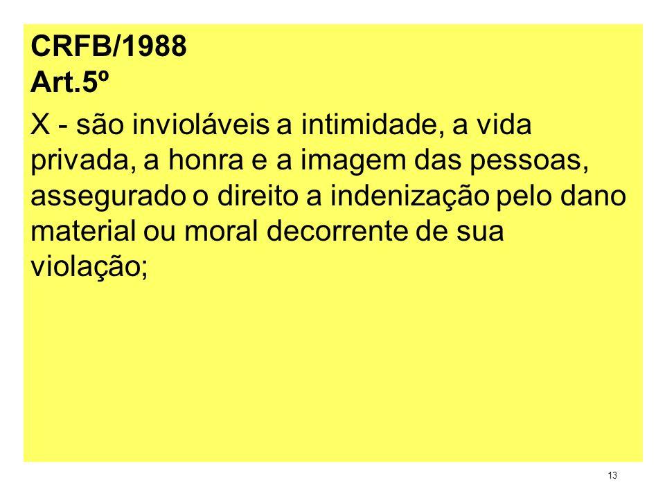 CRFB/1988 Art.5º X - são invioláveis a intimidade, a vida privada, a honra e a imagem das pessoas, assegurado o direito a indenização pelo dano materi
