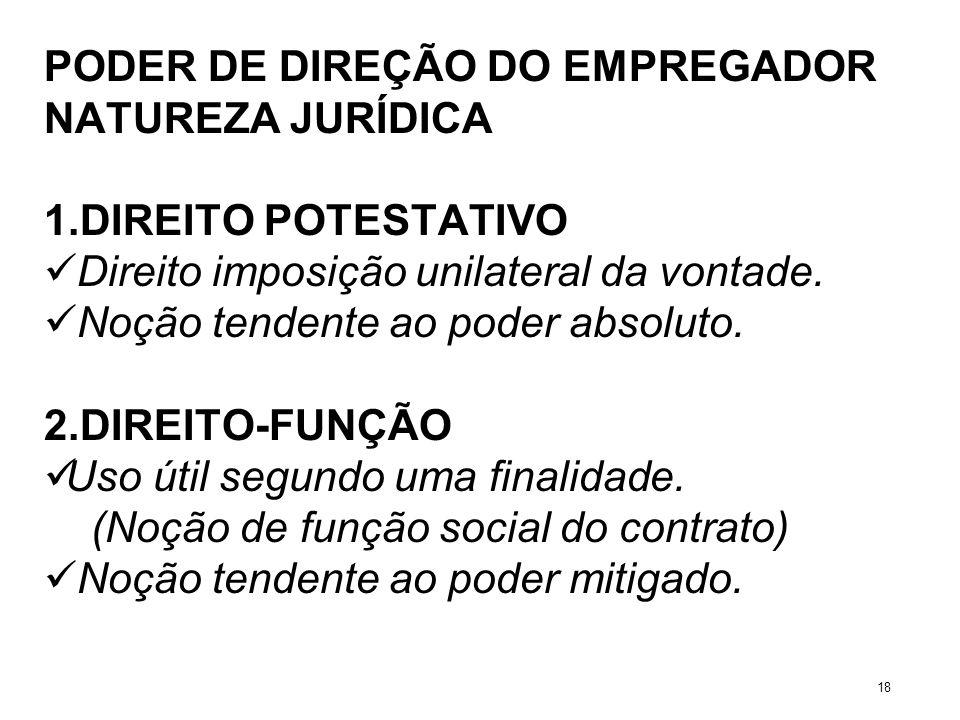 PODER DE DIREÇÃO DO EMPREGADOR NATUREZA JURÍDICA 1.DIREITO POTESTATIVO Direito imposição unilateral da vontade. Noção tendente ao poder absoluto. 2.DI