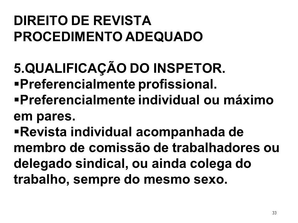 DIREITO DE REVISTA PROCEDIMENTO ADEQUADO 5.QUALIFICAÇÃO DO INSPETOR. Preferencialmente profissional. Preferencialmente individual ou máximo em pares.
