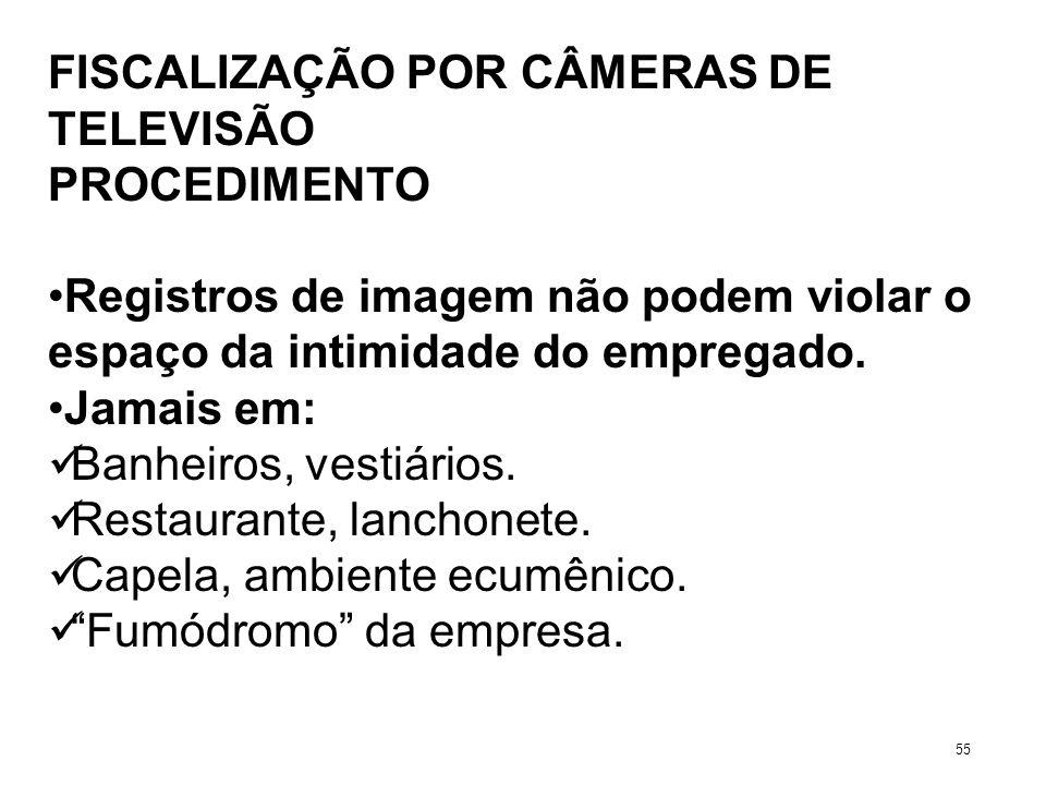 FISCALIZAÇÃO POR CÂMERAS DE TELEVISÃO PROCEDIMENTO Registros de imagem não podem violar o espaço da intimidade do empregado. Jamais em: Banheiros, ves