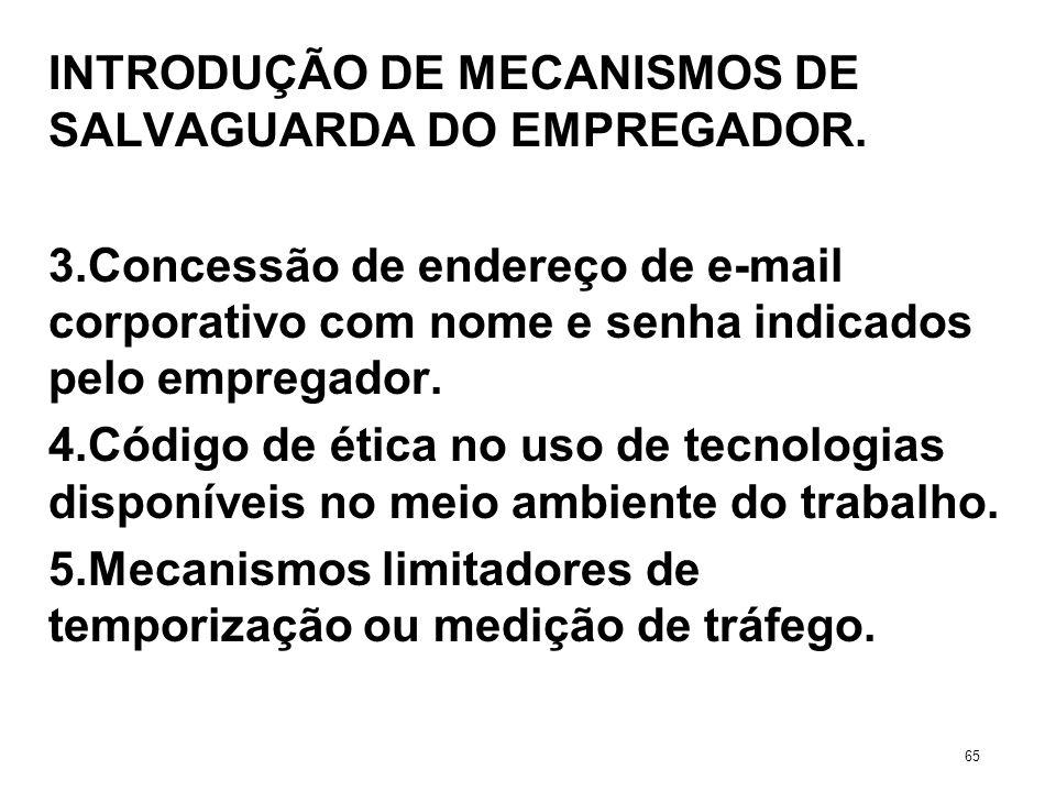 INTRODUÇÃO DE MECANISMOS DE SALVAGUARDA DO EMPREGADOR. 3.Concessão de endereço de e-mail corporativo com nome e senha indicados pelo empregador. 4.Cód