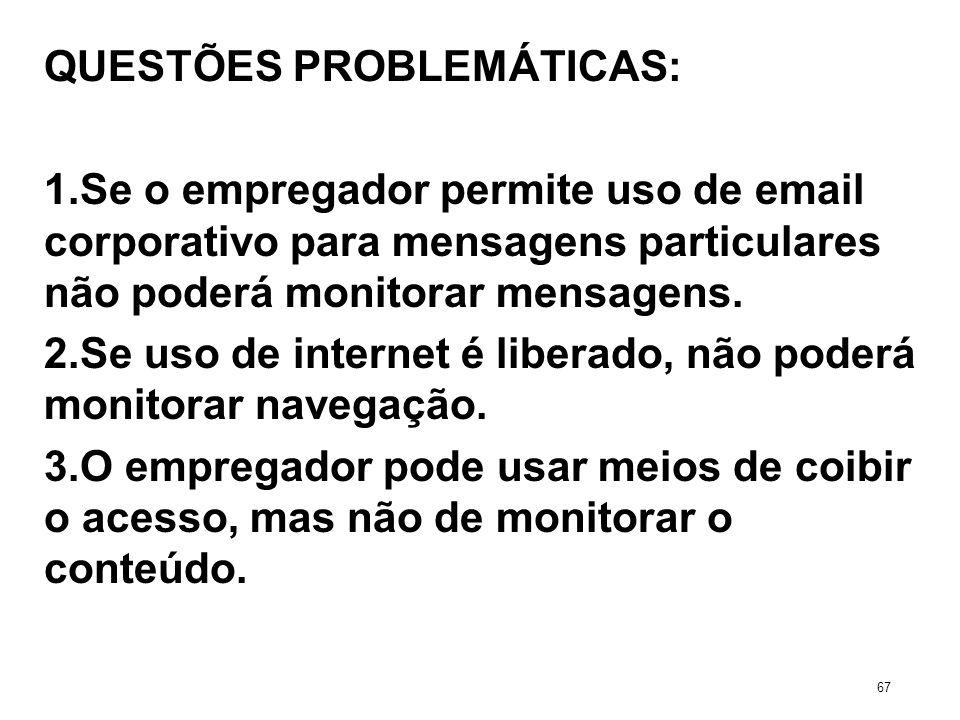 QUESTÕES PROBLEMÁTICAS: 1.Se o empregador permite uso de email corporativo para mensagens particulares não poderá monitorar mensagens. 2.Se uso de int