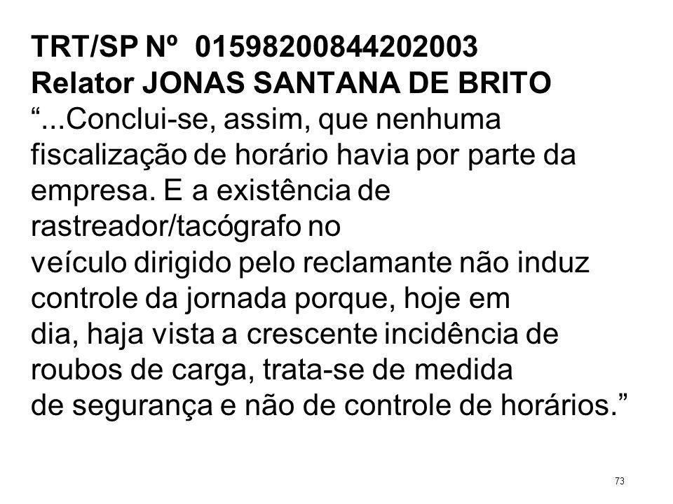 TRT/SP Nº 01598200844202003 Relator JONAS SANTANA DE BRITO...Conclui-se, assim, que nenhuma fiscalização de horário havia por parte da empresa. E a ex