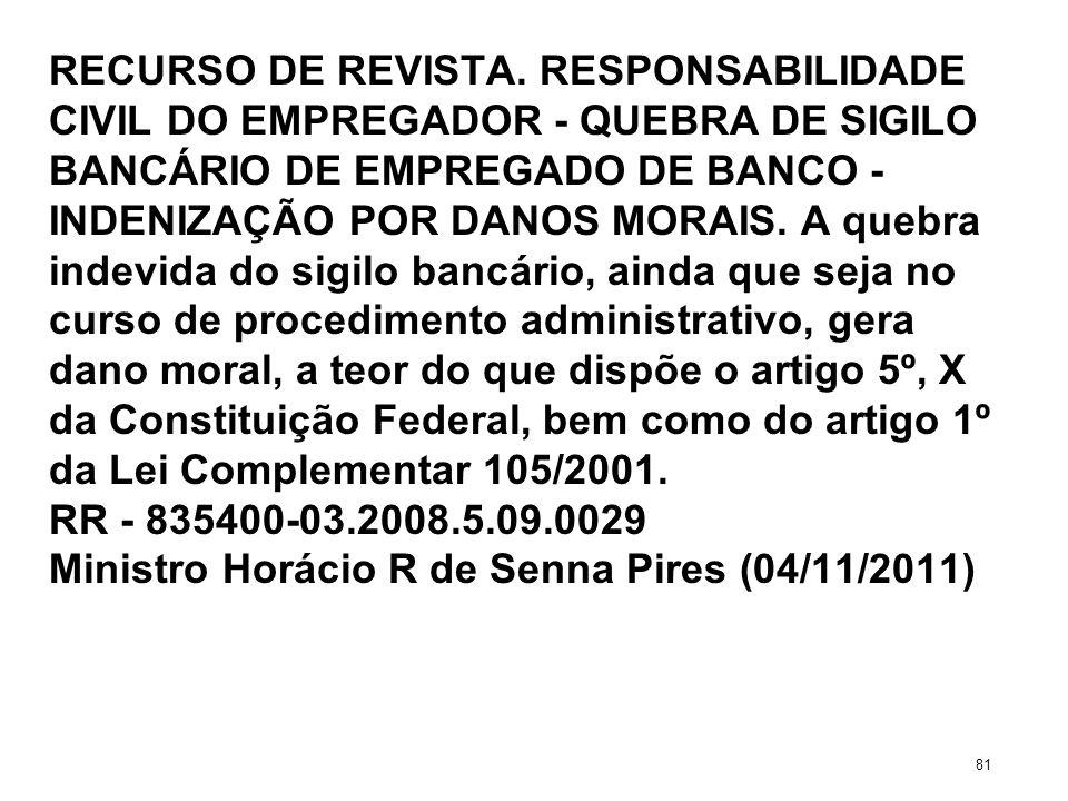 RECURSO DE REVISTA. RESPONSABILIDADE CIVIL DO EMPREGADOR - QUEBRA DE SIGILO BANCÁRIO DE EMPREGADO DE BANCO - INDENIZAÇÃO POR DANOS MORAIS. A quebra in