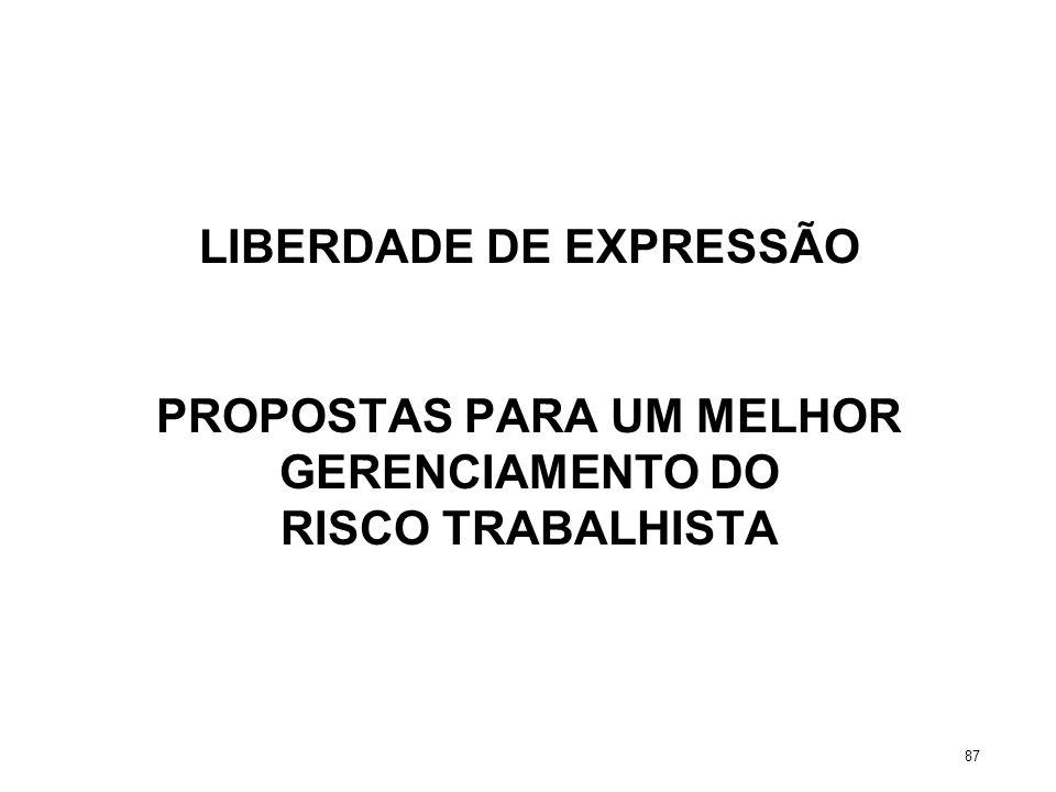LIBERDADE DE EXPRESSÃO PROPOSTAS PARA UM MELHOR GERENCIAMENTO DO RISCO TRABALHISTA 87