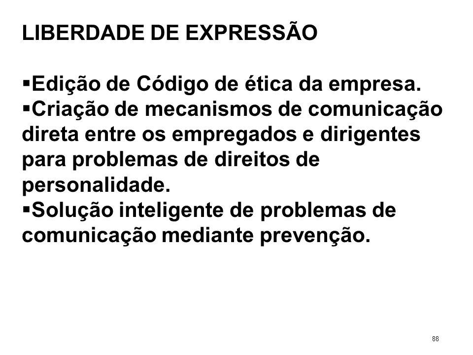 LIBERDADE DE EXPRESSÃO Edição de Código de ética da empresa. Criação de mecanismos de comunicação direta entre os empregados e dirigentes para problem