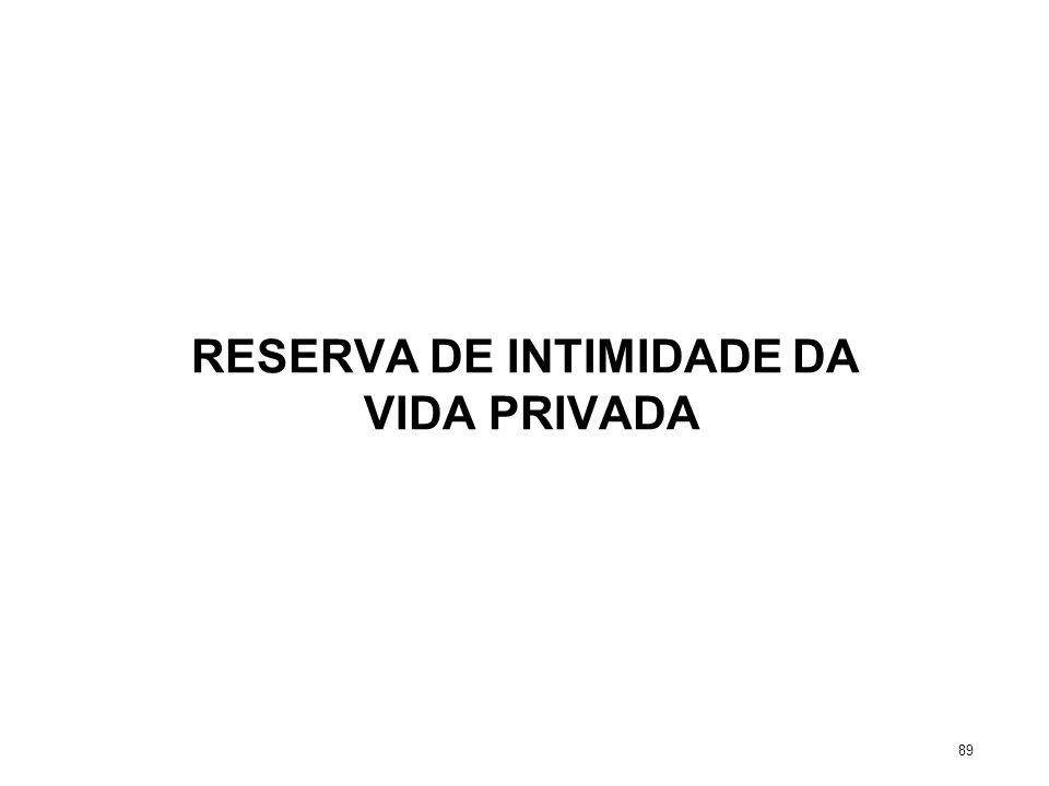 RESERVA DE INTIMIDADE DA VIDA PRIVADA 89