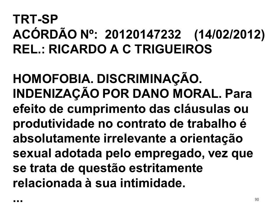 TRT-SP ACÓRDÃO Nº: 20120147232 (14/02/2012) REL.: RICARDO A C TRIGUEIROS HOMOFOBIA. DISCRIMINAÇÃO. INDENIZAÇÃO POR DANO MORAL. Para efeito de cumprime