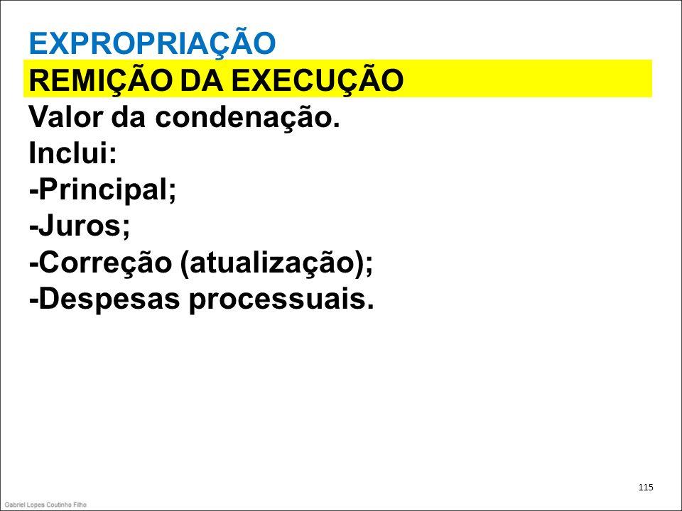EXPROPRIAÇÃO REMIÇÃO DA EXECUÇÃO Valor da condenação. Inclui: -Principal; -Juros; -Correção (atualização); -Despesas processuais. 115