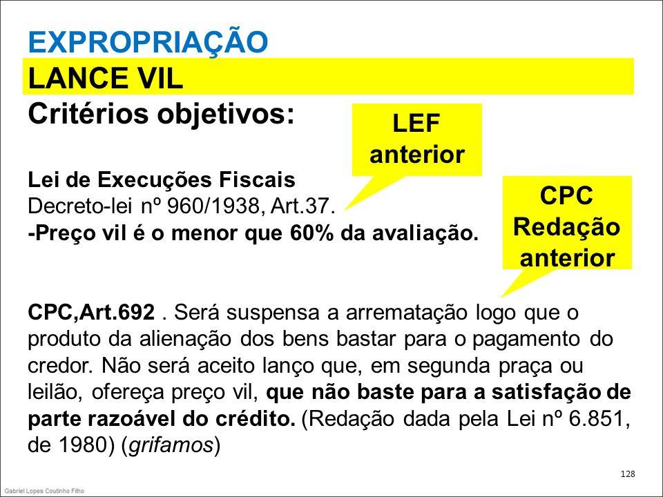 EXPROPRIAÇÃO LANCE VIL Critérios objetivos: Lei de Execuções Fiscais Decreto-lei nº 960/1938, Art.37. -Preço vil é o menor que 60% da avaliação. CPC,A