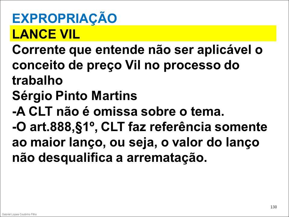 EXPROPRIAÇÃO LANCE VIL Corrente que entende não ser aplicável o conceito de preço Vil no processo do trabalho Sérgio Pinto Martins -A CLT não é omissa