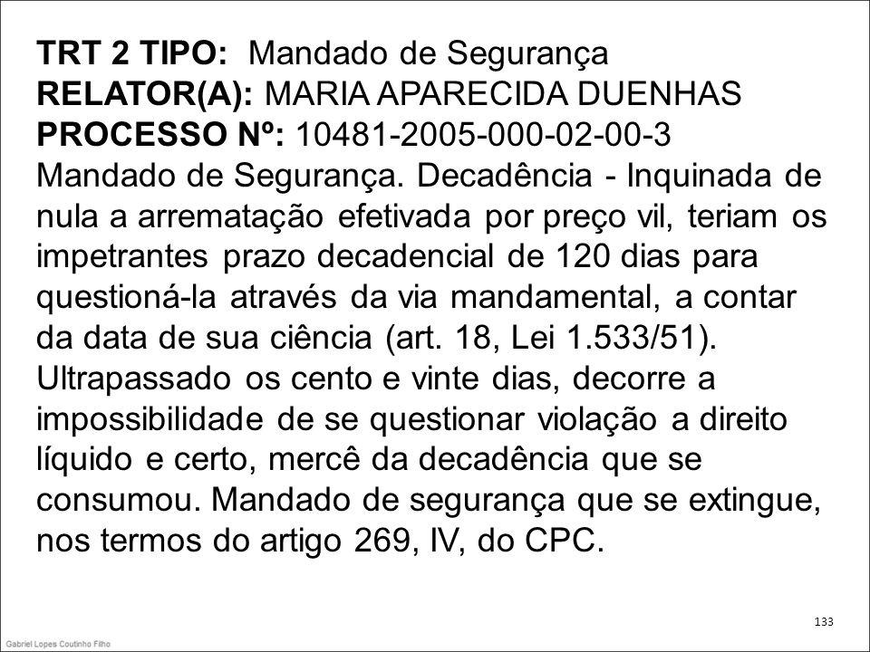 TRT 2 TIPO: Mandado de Segurança RELATOR(A): MARIA APARECIDA DUENHAS PROCESSO Nº: 10481-2005-000-02-00-3 Mandado de Segurança. Decadência - Inquinada