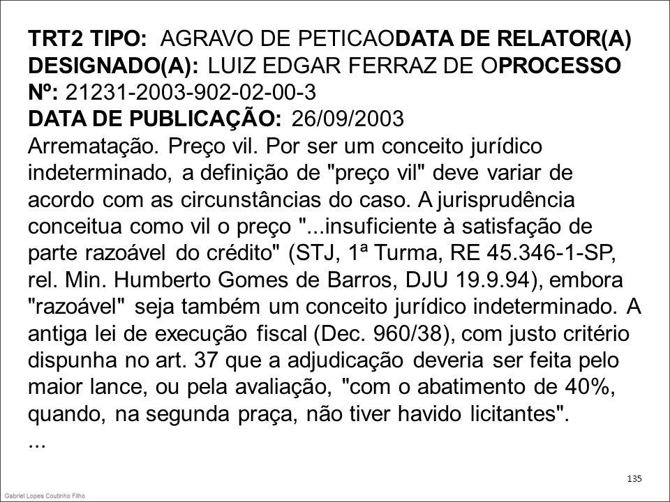 TRT2 TIPO: AGRAVO DE PETICAODATA DE RELATOR(A) DESIGNADO(A): LUIZ EDGAR FERRAZ DE OPROCESSO Nº: 21231-2003-902-02-00-3 DATA DE PUBLICAÇÃO: 26/09/2003