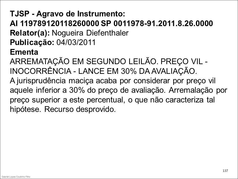 TJSP - Agravo de Instrumento: AI 119789120118260000 SP 0011978-91.2011.8.26.0000 Relator(a): Nogueira Diefenthaler Publicação: 04/03/2011 Ementa ARREM