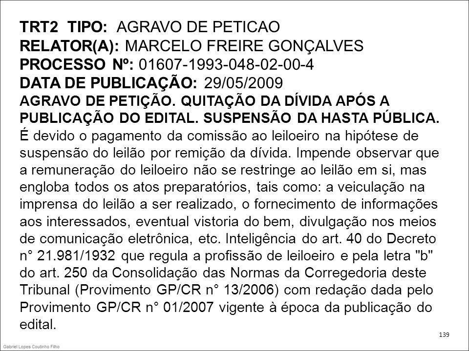 TRT2 TIPO: AGRAVO DE PETICAO RELATOR(A): MARCELO FREIRE GONÇALVES PROCESSO Nº: 01607-1993-048-02-00-4 DATA DE PUBLICAÇÃO: 29/05/2009 AGRAVO DE PETIÇÃO