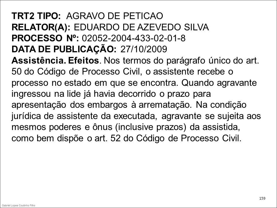 TRT2 TIPO: AGRAVO DE PETICAO RELATOR(A): EDUARDO DE AZEVEDO SILVA PROCESSO Nº: 02052-2004-433-02-01-8 DATA DE PUBLICAÇÃO: 27/10/2009 Assistência. Efei