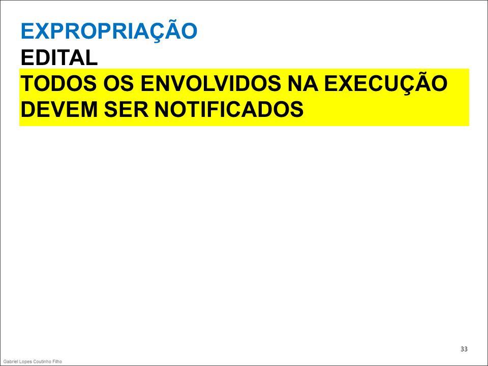 EXPROPRIAÇÃO EDITAL TODOS OS ENVOLVIDOS NA EXECUÇÃO DEVEM SER NOTIFICADOS 33