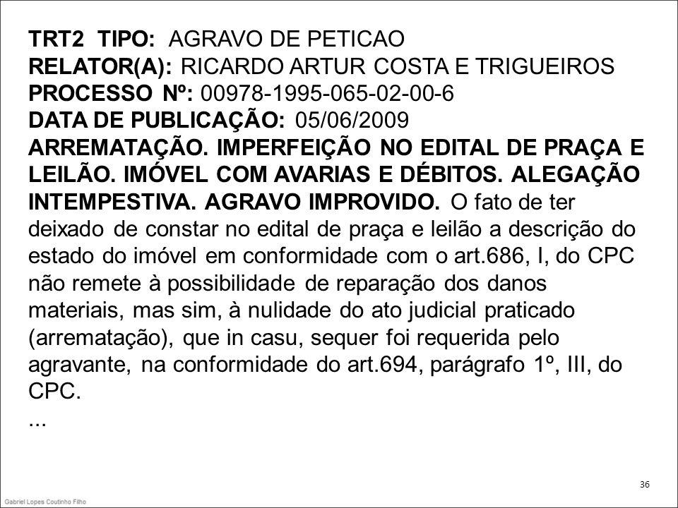 TRT2 TIPO: AGRAVO DE PETICAO RELATOR(A): RICARDO ARTUR COSTA E TRIGUEIROS PROCESSO Nº: 00978-1995-065-02-00-6 DATA DE PUBLICAÇÃO: 05/06/2009 ARREMATAÇ