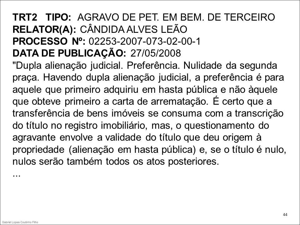 TRT2 TIPO: AGRAVO DE PET. EM BEM. DE TERCEIRO RELATOR(A): CÂNDIDA ALVES LEÃO PROCESSO Nº: 02253-2007-073-02-00-1 DATA DE PUBLICAÇÃO: 27/05/2008