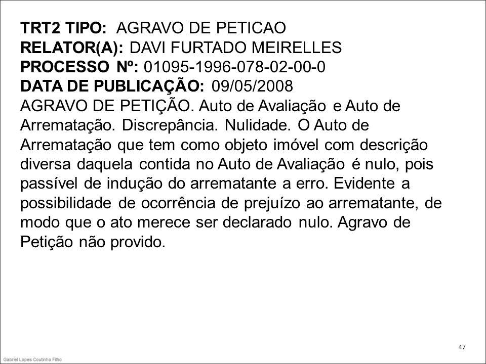 TRT2 TIPO: AGRAVO DE PETICAO RELATOR(A): DAVI FURTADO MEIRELLES PROCESSO Nº: 01095-1996-078-02-00-0 DATA DE PUBLICAÇÃO: 09/05/2008 AGRAVO DE PETIÇÃO.