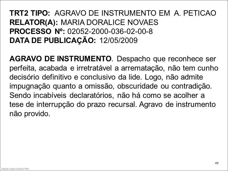 TRT2 TIPO: AGRAVO DE INSTRUMENTO EM A. PETICAO RELATOR(A): MARIA DORALICE NOVAES PROCESSO Nº: 02052-2000-036-02-00-8 DATA DE PUBLICAÇÃO: 12/05/2009 AG