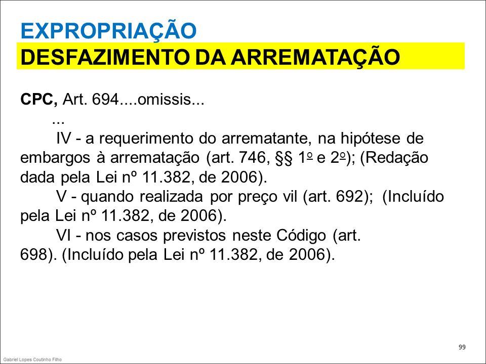 EXPROPRIAÇÃO DESFAZIMENTO DA ARREMATAÇÃO CPC, Art. 694....omissis...... IV - a requerimento do arrematante, na hipótese de embargos à arrematação (art