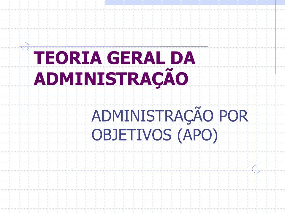 TEORIA GERAL DA ADMINISTRAÇÃO ADMINISTRAÇÃO POR OBJETIVOS (APO)