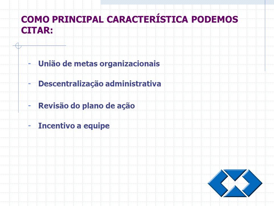 - União de metas organizacionais - Descentralização administrativa - Revisão do plano de ação - Incentivo a equipe COMO PRINCIPAL CARACTERÍSTICA PODEM