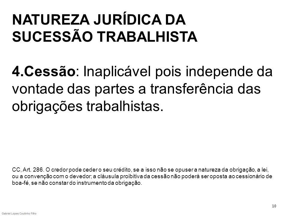 NATUREZA JURÍDICA DA SUCESSÃO TRABALHISTA 4.Cessão: Inaplicável pois independe da vontade das partes a transferência das obrigações trabalhistas. CC,