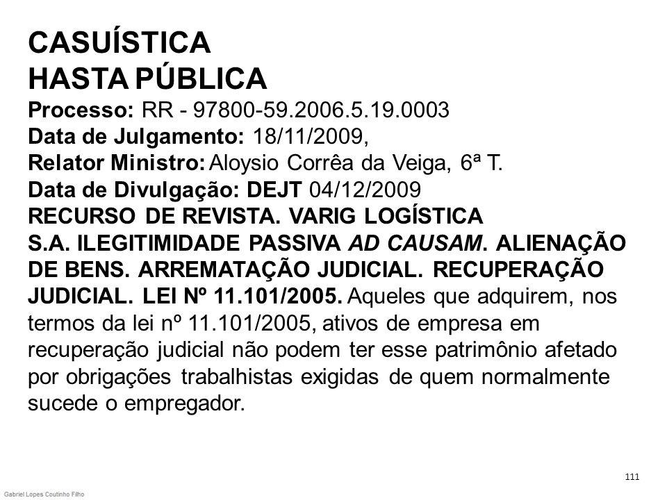 CASUÍSTICA HASTA PÚBLICA Processo: RR - 97800-59.2006.5.19.0003 Data de Julgamento: 18/11/2009, Relator Ministro: Aloysio Corrêa da Veiga, 6ª T. Data