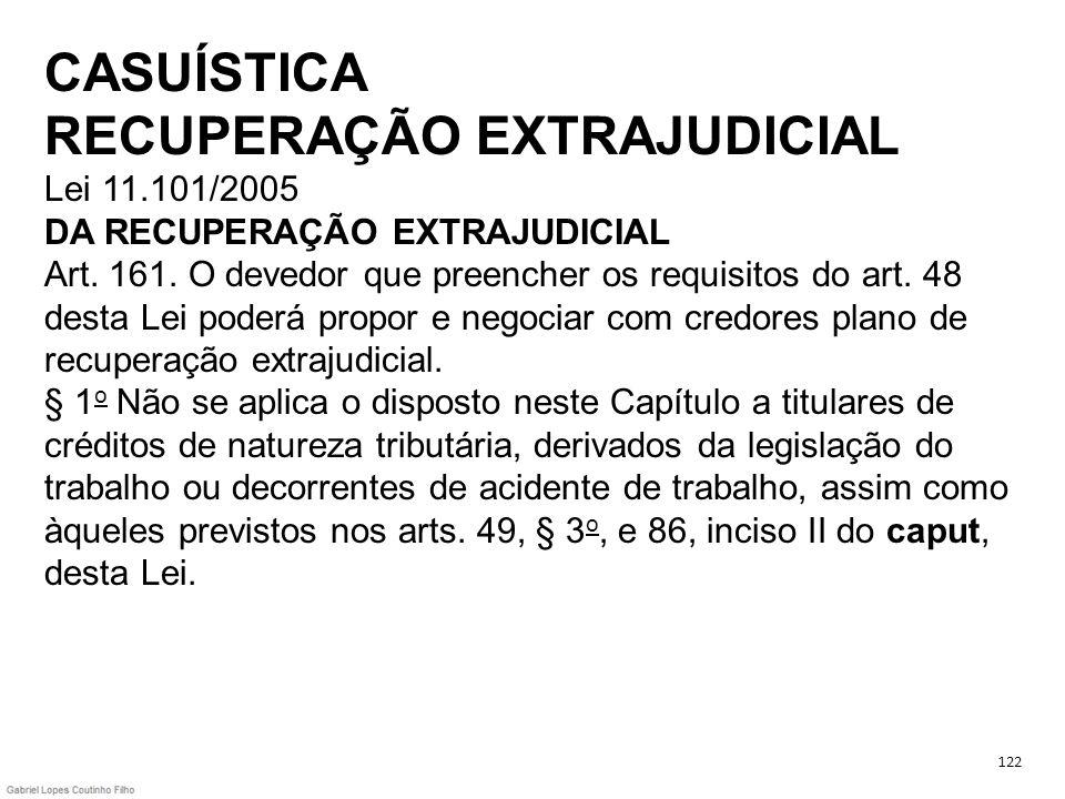 CASUÍSTICA RECUPERAÇÃO EXTRAJUDICIAL Lei 11.101/2005 DA RECUPERAÇÃO EXTRAJUDICIAL Art. 161. O devedor que preencher os requisitos do art. 48 desta Lei