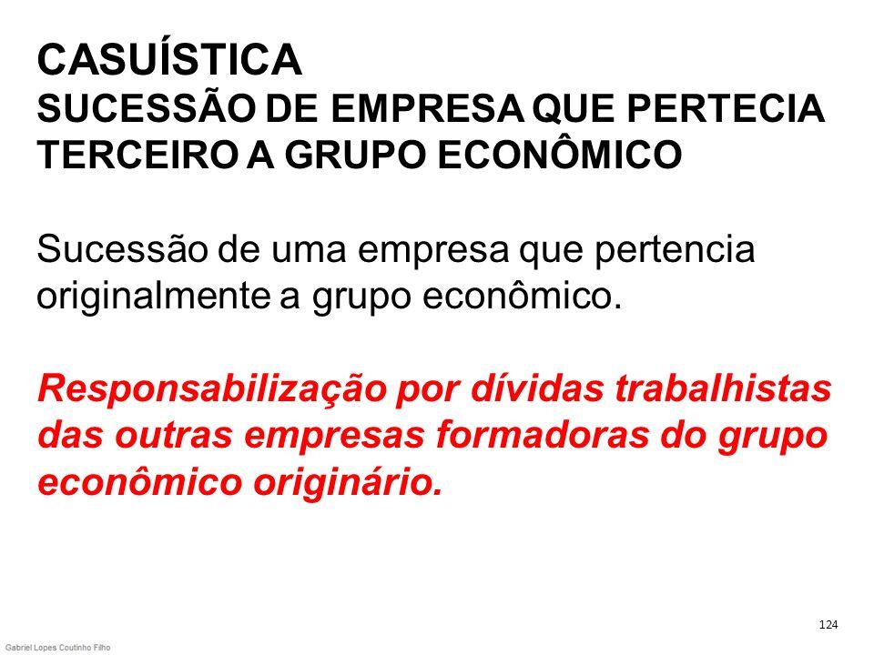 CASUÍSTICA SUCESSÃO DE EMPRESA QUE PERTECIA TERCEIRO A GRUPO ECONÔMICO Sucessão de uma empresa que pertencia originalmente a grupo econômico. Responsa