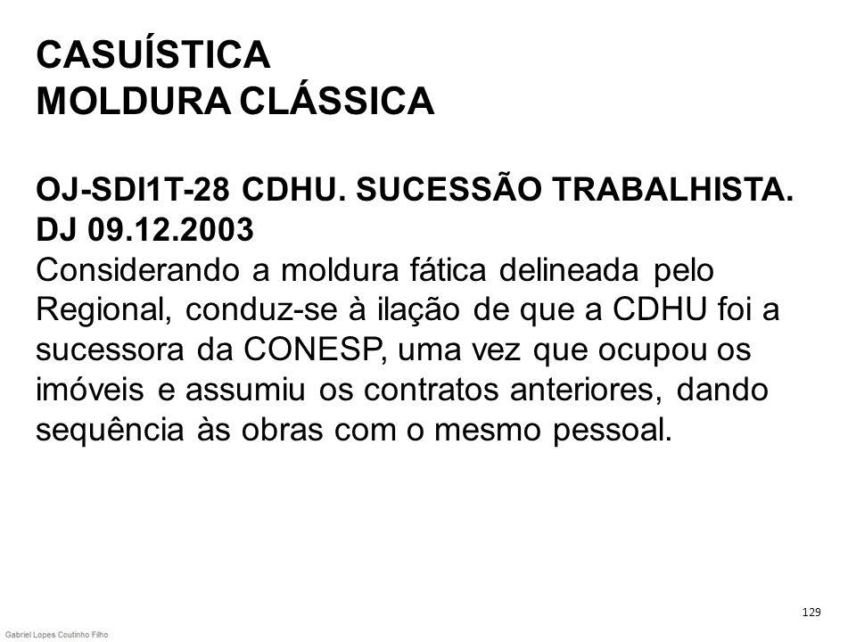 CASUÍSTICA MOLDURA CLÁSSICA OJ-SDI1T-28 CDHU. SUCESSÃO TRABALHISTA. DJ 09.12.2003 Considerando a moldura fática delineada pelo Regional, conduz-se à i