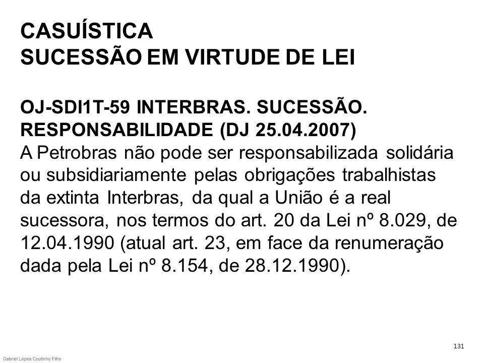 CASUÍSTICA SUCESSÃO EM VIRTUDE DE LEI OJ-SDI1T-59 INTERBRAS. SUCESSÃO. RESPONSABILIDADE (DJ 25.04.2007) A Petrobras não pode ser responsabilizada soli