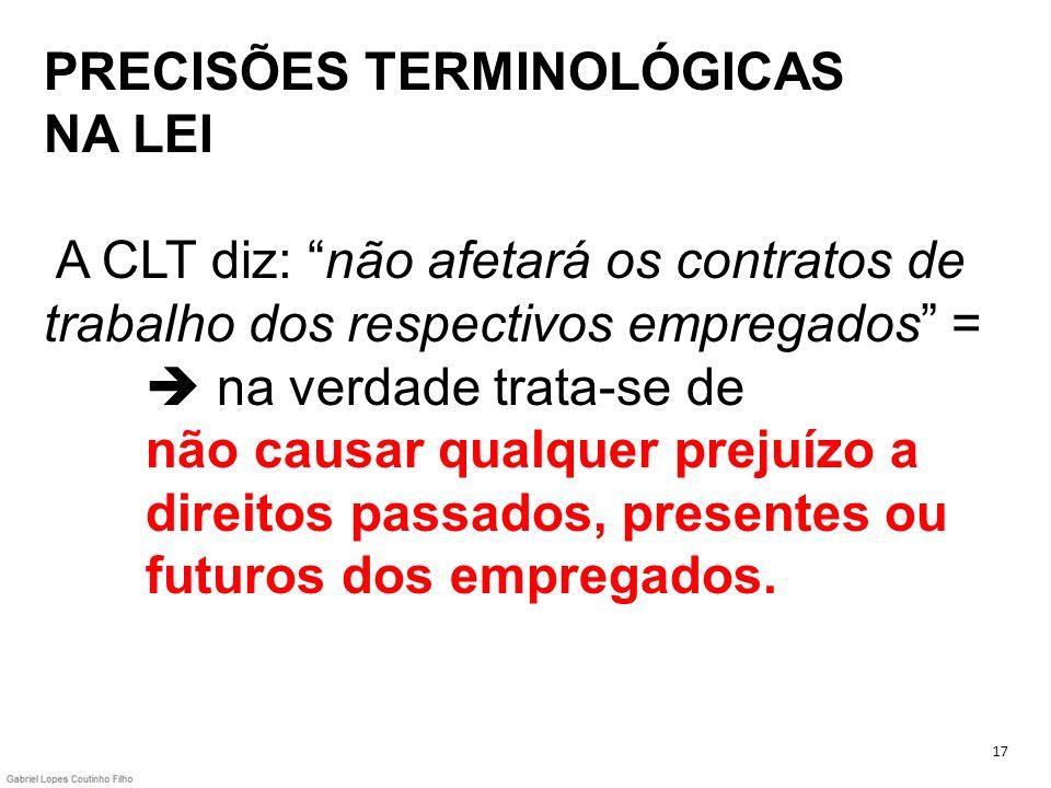 PRECISÕES TERMINOLÓGICAS NA LEI A CLT diz: não afetará os contratos de trabalho dos respectivos empregados = na verdade trata-se de não causar qualque