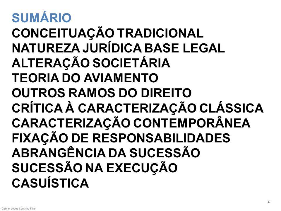 SUMÁRIO CONCEITUAÇÃO TRADICIONAL NATUREZA JURÍDICA BASE LEGAL ALTERAÇÃO SOCIETÁRIA TEORIA DO AVIAMENTO OUTROS RAMOS DO DIREITO CRÍTICA À CARACTERIZAÇÃ