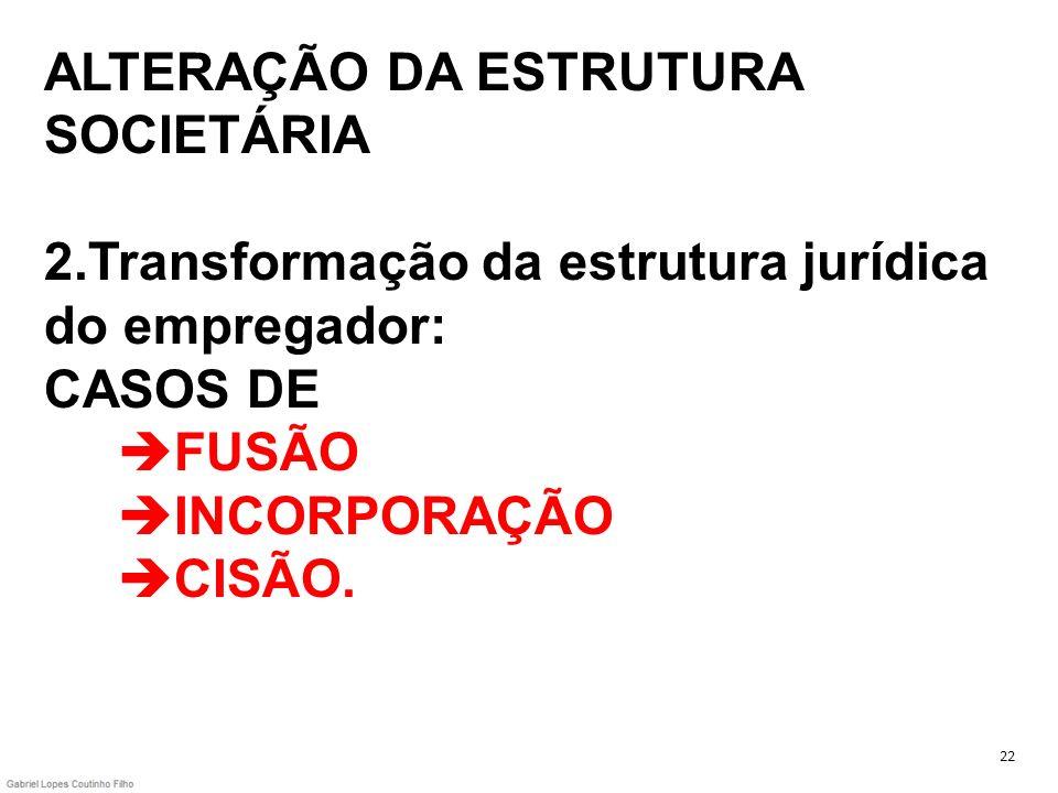 ALTERAÇÃO DA ESTRUTURA SOCIETÁRIA 2.Transformação da estrutura jurídica do empregador: CASOS DE FUSÃO INCORPORAÇÃO CISÃO. 22
