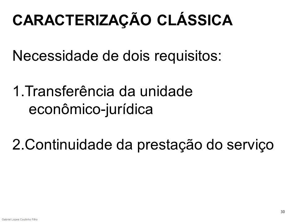 CARACTERIZAÇÃO CLÁSSICA Necessidade de dois requisitos: 1.Transferência da unidade econômico-jurídica 2.Continuidade da prestação do serviço 30