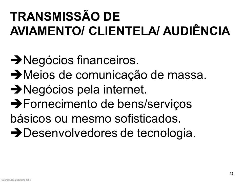 TRANSMISSÃO DE AVIAMENTO/ CLIENTELA/ AUDIÊNCIA Negócios financeiros. Meios de comunicação de massa. Negócios pela internet. Fornecimento de bens/servi