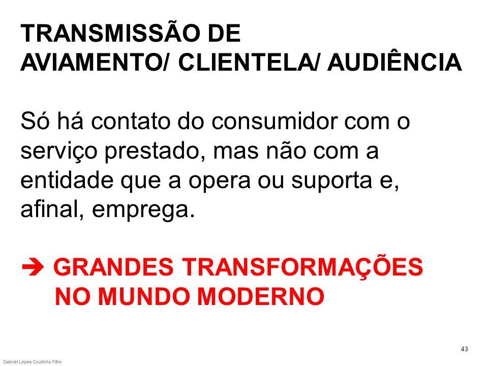 TRANSMISSÃO DE AVIAMENTO/ CLIENTELA/ AUDIÊNCIA Só há contato do consumidor com o serviço prestado, mas não com a entidade que a opera ou suporta e, af