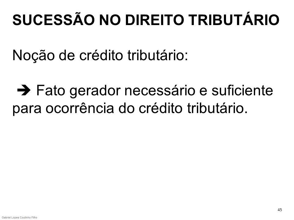 SUCESSÃO NO DIREITO TRIBUTÁRIO Noção de crédito tributário: Fato gerador necessário e suficiente para ocorrência do crédito tributário. 45