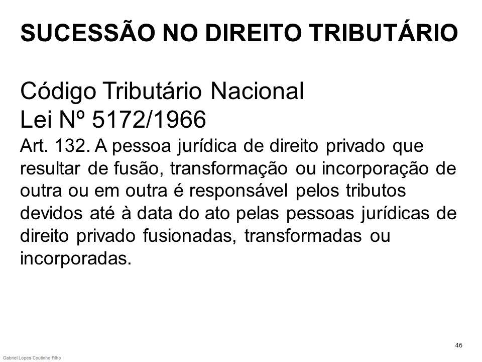 SUCESSÃO NO DIREITO TRIBUTÁRIO Código Tributário Nacional Lei Nº 5172/1966 Art. 132. A pessoa jurídica de direito privado que resultar de fusão, trans