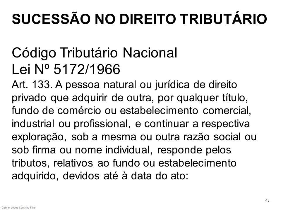 SUCESSÃO NO DIREITO TRIBUTÁRIO Código Tributário Nacional Lei Nº 5172/1966 Art. 133. A pessoa natural ou jurídica de direito privado que adquirir de o