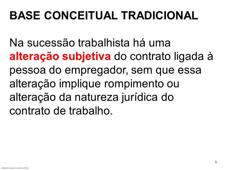 BASE CONCEITUAL TRADICIONAL Na sucessão trabalhista há uma alteração subjetiva do contrato ligada à pessoa do empregador, sem que essa alteração impli