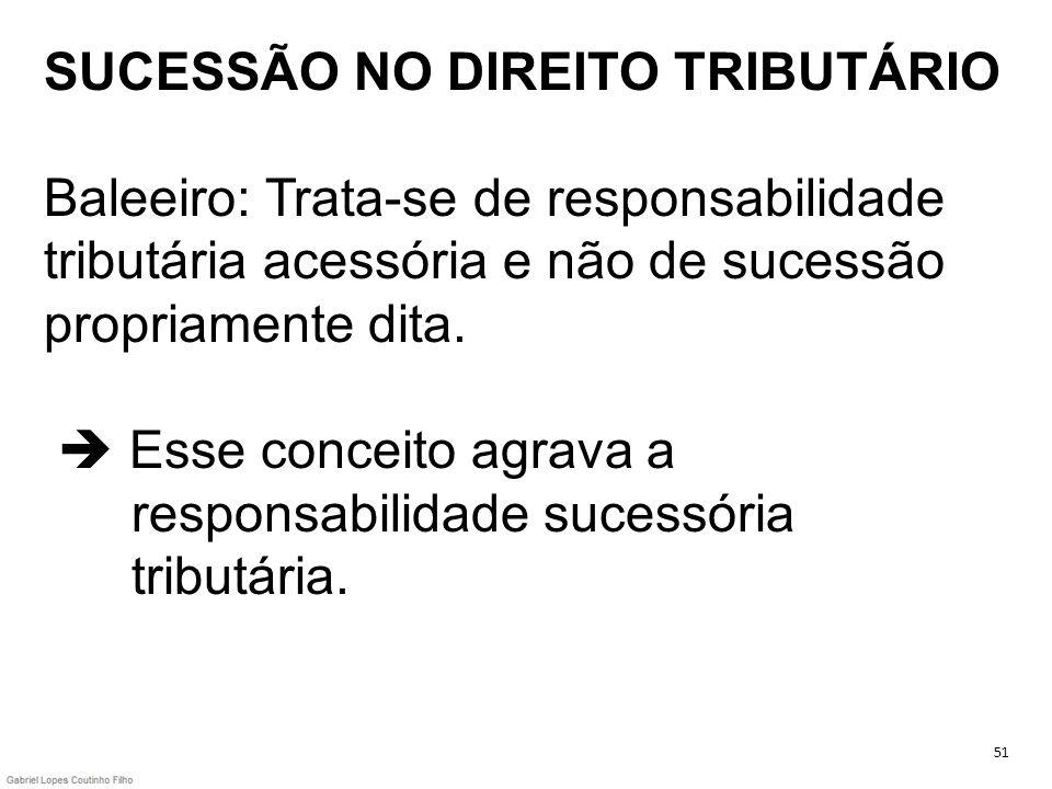 SUCESSÃO NO DIREITO TRIBUTÁRIO Baleeiro: Trata-se de responsabilidade tributária acessória e não de sucessão propriamente dita. Esse conceito agrava a