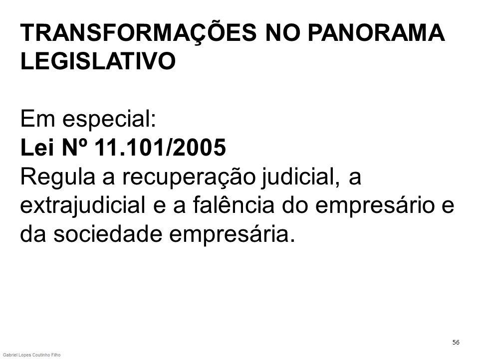 TRANSFORMAÇÕES NO PANORAMA LEGISLATIVO Em especial: Lei Nº 11.101/2005 Regula a recuperação judicial, a extrajudicial e a falência do empresário e da