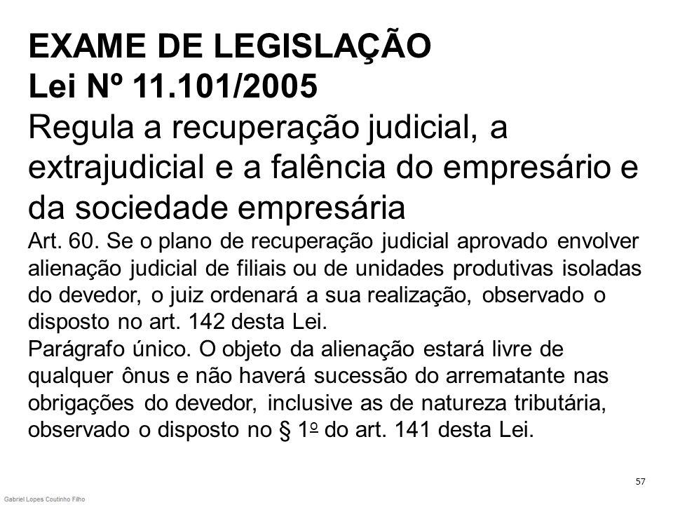 EXAME DE LEGISLAÇÃO Lei Nº 11.101/2005 Regula a recuperação judicial, a extrajudicial e a falência do empresário e da sociedade empresária Art. 60. Se