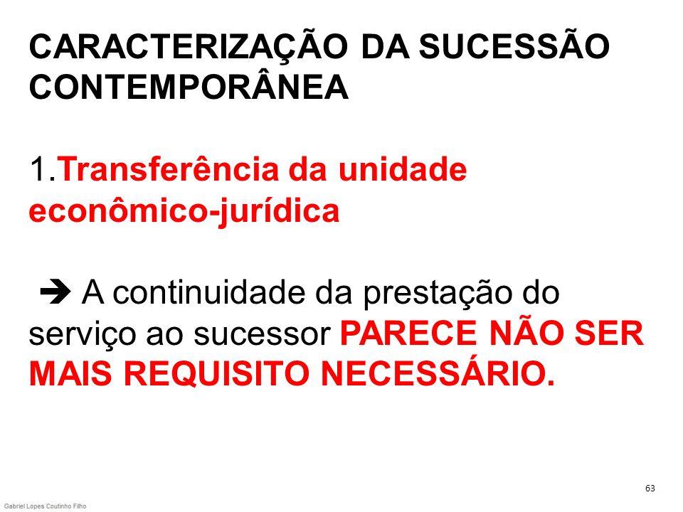 CARACTERIZAÇÃO DA SUCESSÃO CONTEMPORÂNEA 1.Transferência da unidade econômico-jurídica A continuidade da prestação do serviço ao sucessor PARECE NÃO S