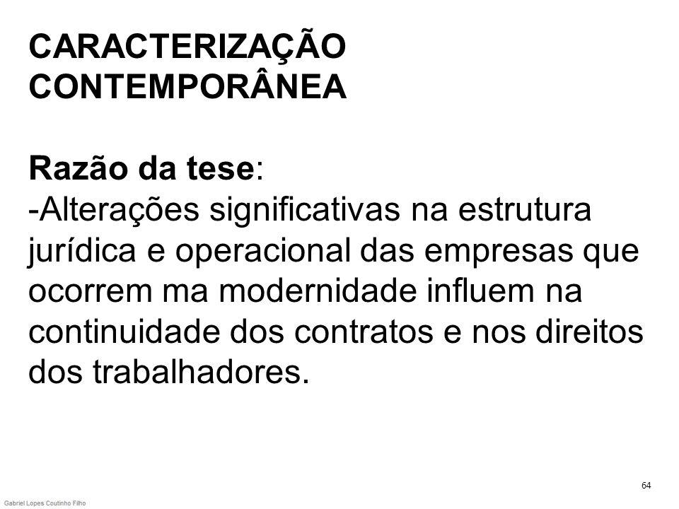 CARACTERIZAÇÃO CONTEMPORÂNEA Razão da tese: -Alterações significativas na estrutura jurídica e operacional das empresas que ocorrem ma modernidade inf